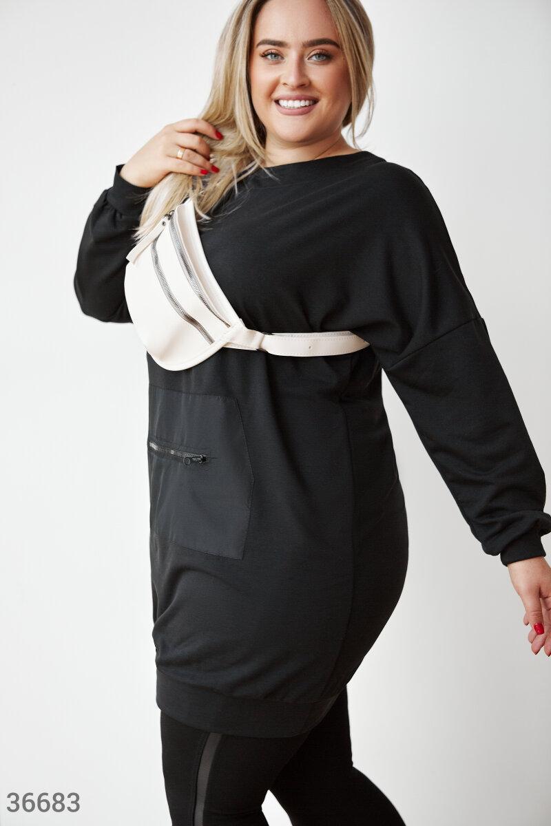 Платье-туника оверсайз большого размера черное