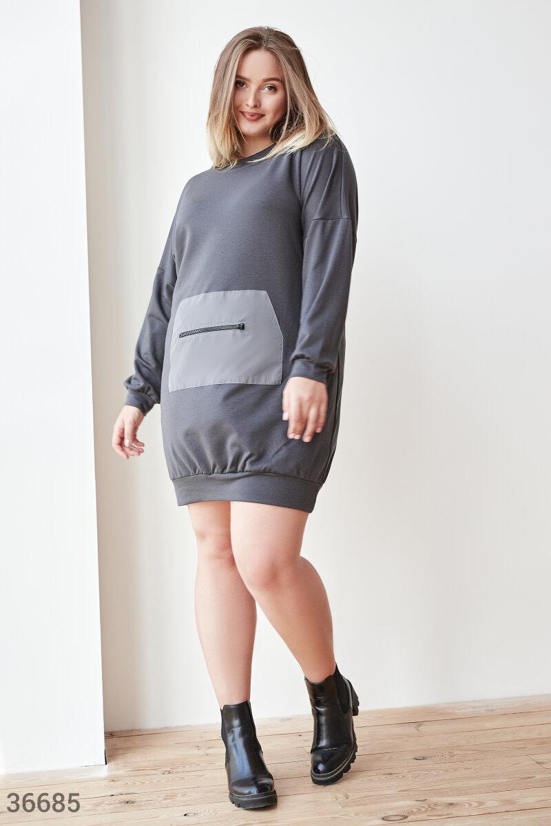Платье-туника оверсайз большого размера серое