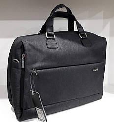 Сумка портфель под документы мужская черная текстиль с плечевым ремнем Dolly 654