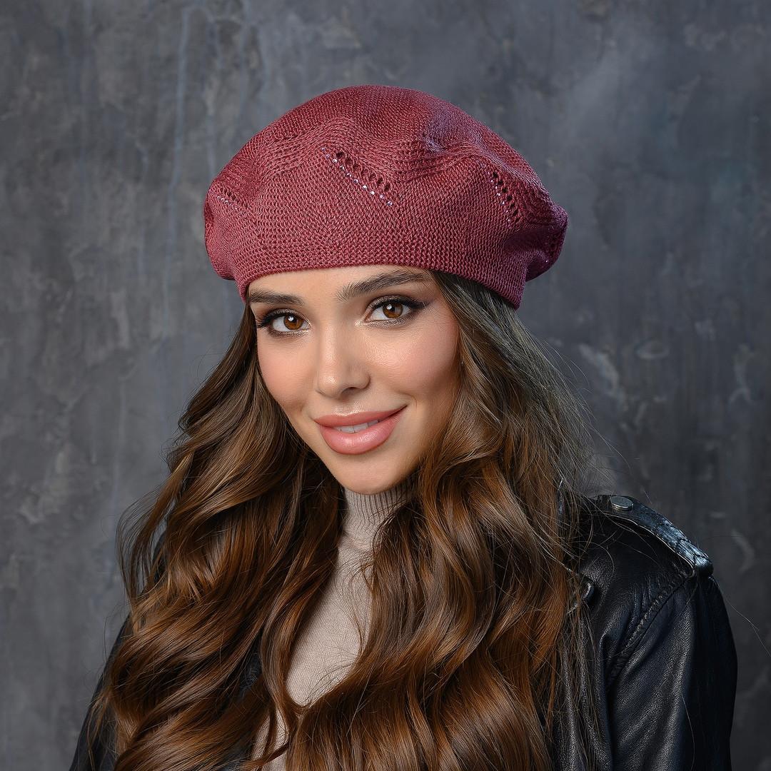 Вязаная женская шапка-берет пряжа,50%ангора, 50% акрил