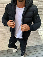 Куртка мужская короткая зимняя чёрная с капюшоном Турция
