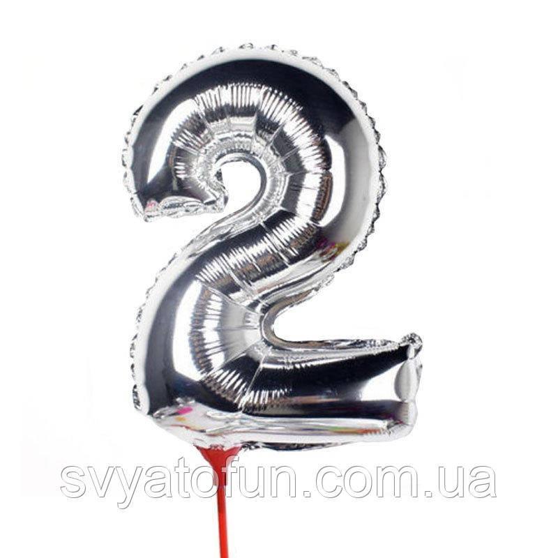 Фольгований куля цифра 2 на паличці срібло Китай