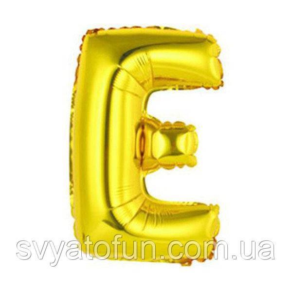 """Фольгований куля буква """"Е"""" золото 14"""" Китай"""