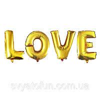 Фольгированный шар надпись Love золото 80см Китай