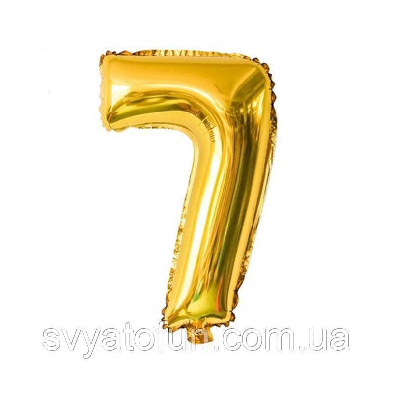 Фольгированный шар цифра 7 золото 35см Китай