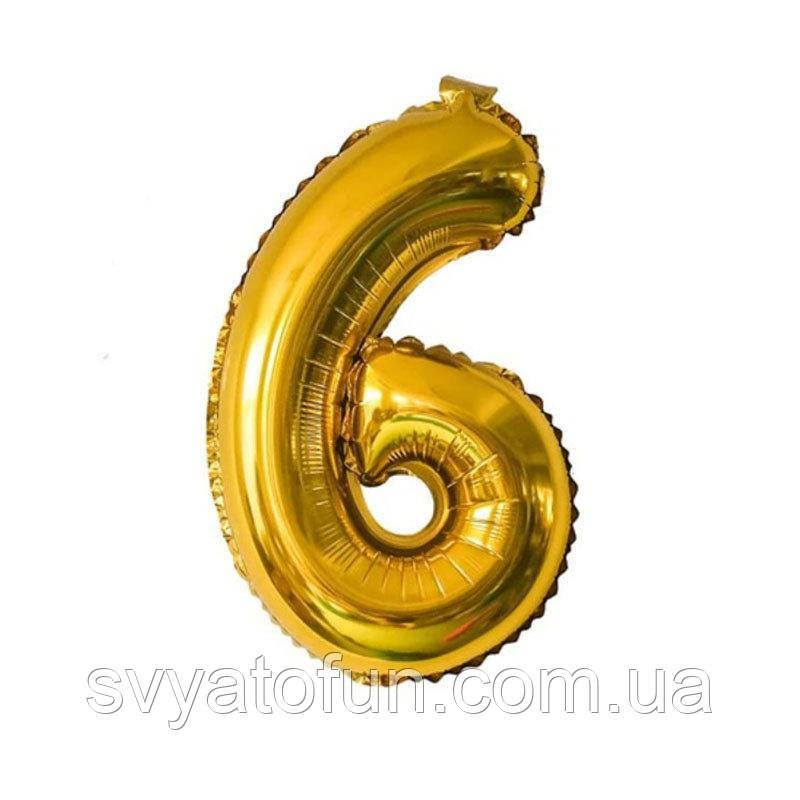 Фольгированный шар цифра 6 золото 35см Китай
