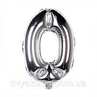 Фольгированный шар цифра 0 серебро 35см Китай