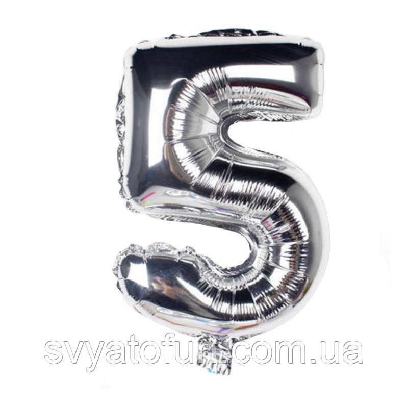 Фольгированный шар цифра 5 серебро 35см Китай