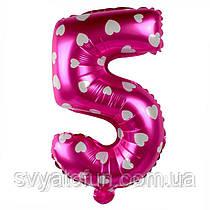 Фольгований куля цифра 5 рожевий в сердечка Китай