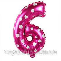 Фольгований куля цифра 6 рожевий в сердечка Китай