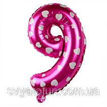 Фольгований куля цифра 9 рожевий в сердечка Китай