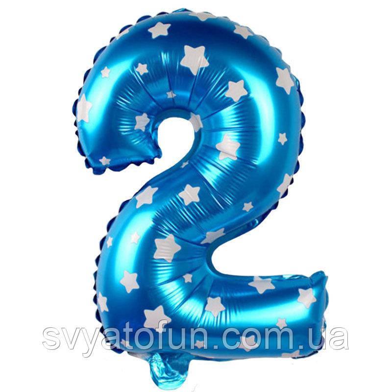 Фольгированный шар цифра 2 голубой в звездочки Китай