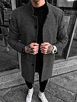 Пальто мужское серое демисезонное стильное на пуговицах Турция