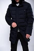 Мужская зимняя длинная куртка на тинсулейте с искусственным мехом больших размеров с 58 по 66