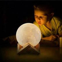 Настольный светильник ночник сенсорный на аккумуляторе Лампа Луна Magic 3D Moon Lamp 13 см, фото 2