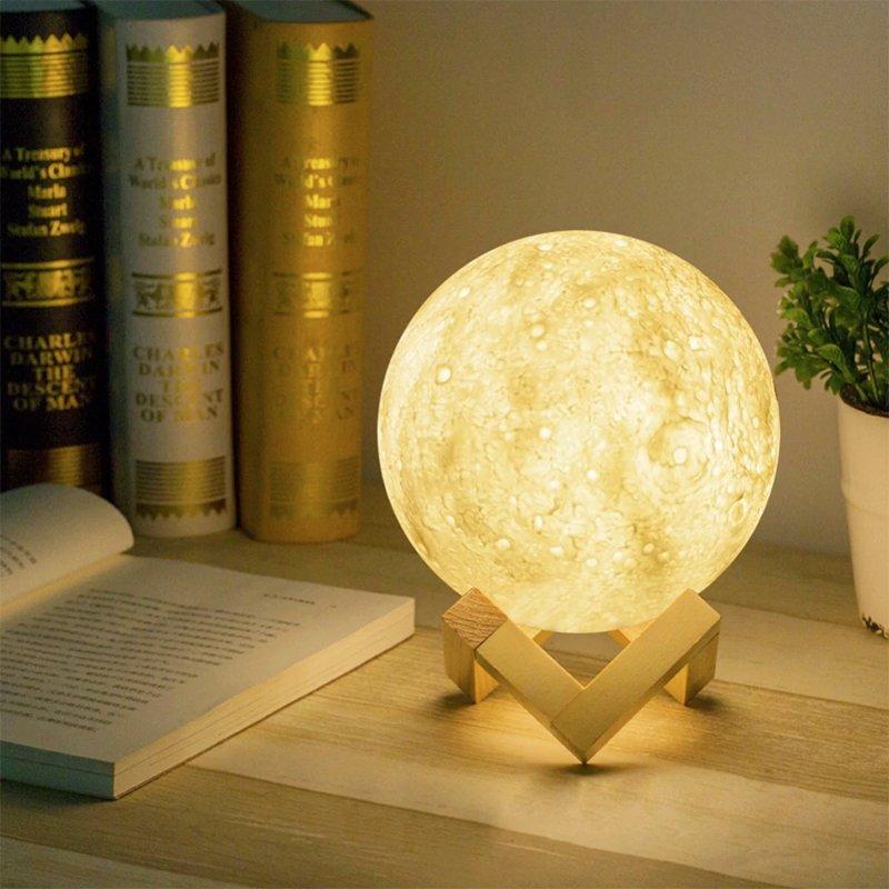 Настольный светильник ночник сенсорный на аккумуляторе Лампа Луна Magic 3D Moon Lamp 13 см