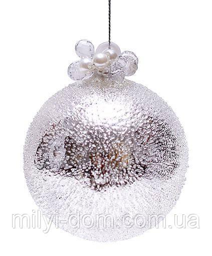 """Елочный шар - серебро с покрытием """"лёд"""", с декором из бусин и жемчуга,6 шт  8см"""