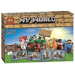 """Конструктор BELA Minecraft 8 в 1 """"Верстак"""" 517 деталі"""