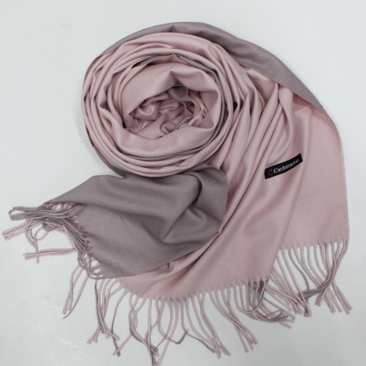 Теплый шарф одтонный двухсторонний кашемировый 132004