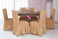 Чехлы на стулья с оборкой комплект 6 штук, натяжные, жатка-креш, универсальные, Venera, Разные Цвета