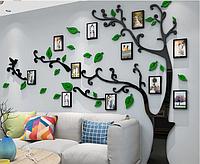 """Пластиковая зеркальная наклейка на стену, витрину """"Фото дерево черное"""" 2м80см * 2метра дерево с фоторамками"""
