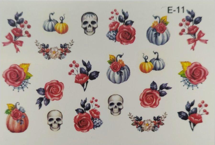 Водные наклейки (слайдер дизайн) для ногтей E-11