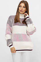 Полосатый женский свитер на манжетах фиолетовый, фото 3