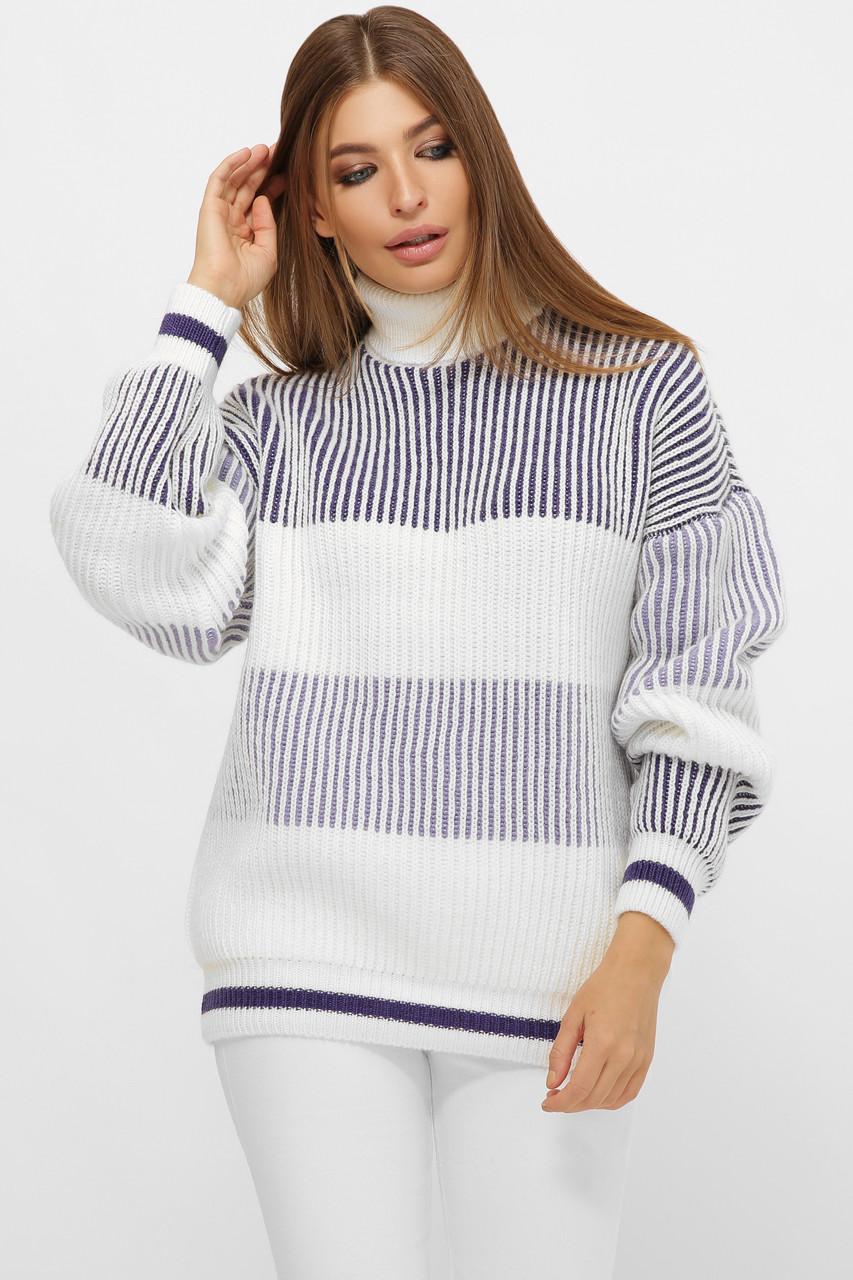 Полосатый женский свитер на манжетах фиолетовый