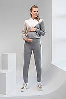Спортивні штани з лампасами для вагітних, сірі 2107 1093