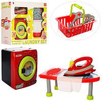 Набор бытовой техники игрушечная стиральная машинка-вращ.бар ,утюг-бр.вод,звук,свет, гладильная доска,батарейк