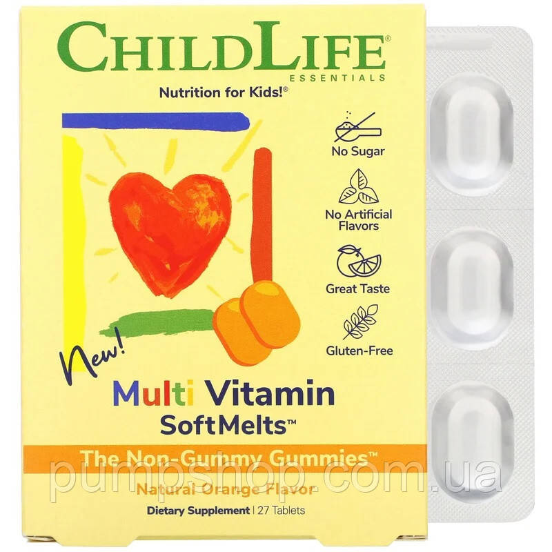Витамины для детей ChildLife Multi Vitamin SoftMelts 27 таб. вкус апельсин