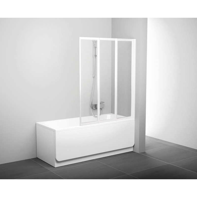 Штора д/ванни VS 3 115 Транспарент, профіль білий, скло