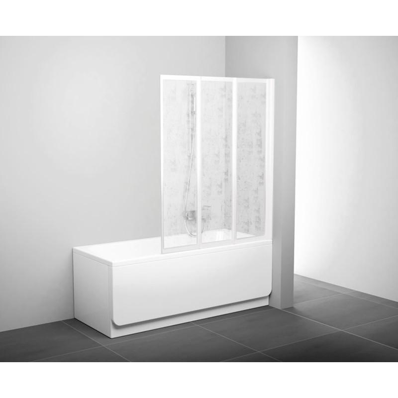 Штора д/ванни VS 3 130 Рейн, профіль білий, пласт.