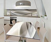 Наклейка 3Д виниловая на стол Zatarga «Бежевая Абстракция 3Д» 650х1200 мм для домов, квартир, столов,