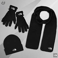 Шапка +Шарф +Перчатки Комплект зимний мужской The North Face до -30*С теплый черный   Шапка мужская
