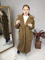 Женская шуба из эко меха Скайлер коричневая, фото 1