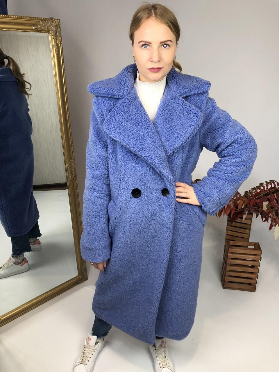 Женская шуба из эко меха Токио синяя