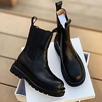 Женские ботинки челси Bottega Veneta Chelsea Black (без меха) 1в1 как Оригинал ТОП (ААА+)