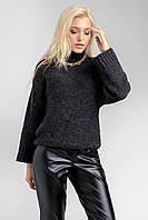 Теплый лаконичный свитер в цвете антрацит, фото 1