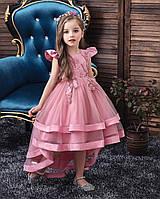 Праздничное стильное розовое платье для девочки с дорогим кружевом и стразами Ивет