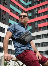 Чоловіча сумка на пояс бананка з еко-шкіри Sambag Tirso MKH чорна поясна через плече нагрудна