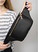 ̊ Женская сумка на пояс бананка из эко-кожи Sambag Tirso MSG черная поясная через плечо нагрудная