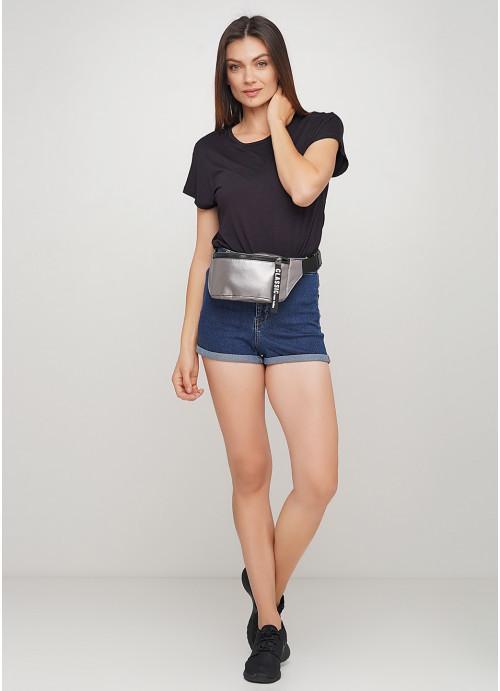 Жіноча сумка на пояс бананка з еко-шкіри Sambag Tirso MSH металік з стрічкою поясна через плече нагрудна