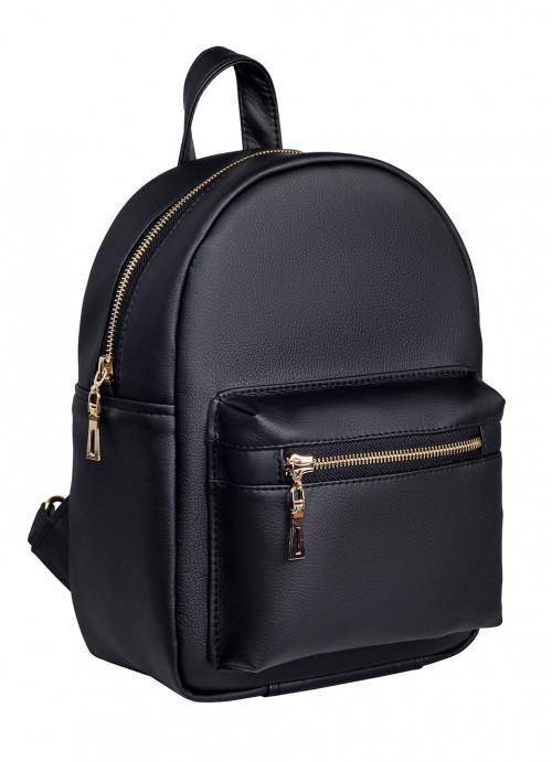 Lb Женский модный городской рюкзак из экокожи Sambag Brix MSG Черный практичный маленький мини стильный