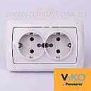 Розетка электрическая VI-KO Carmen скрытой установки двойная с заземлением (белая), фото 2