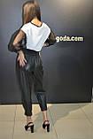Женские кожаные штаны джоггеры ,черные,Турция, фото 8