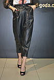 Женские кожаные штаны джоггеры ,черные,Турция, фото 7