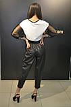 Женские кожаные штаны джоггеры ,черные,Турция, фото 2
