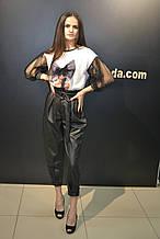 Женские кожаные штаны джоггеры ,черные,Турция