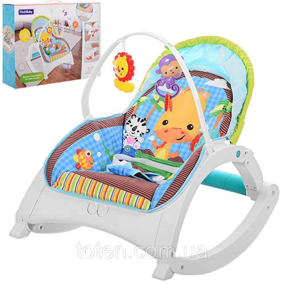 Дитячий шезлонг-качалка Bambi 88956 вібрація, дуга з іграшками, регулювання спинки, блакитний